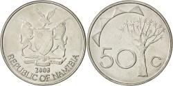 World Coins - NAMIBIA, 50 Cents, 2008, Vantaa, KM #3, , Nickel Plated Steel, 24, 4.43