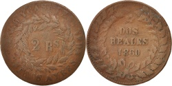 World Coins - ARGENTINA, 2 Reales, 1860, Buenos Aires, KM #11, , Copper, 32.2, 7.26