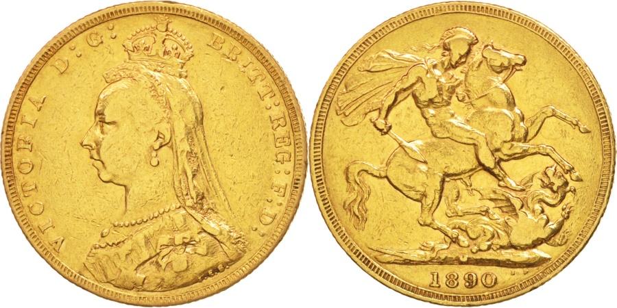 World Coins - Great Britain, Victoria, Sovereign, 1890, , Gold, KM:767