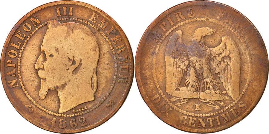 World Coins - France, Napoleon III, 10 Centimes, 1862, Bordeaux, , Bronze, KM 798.3
