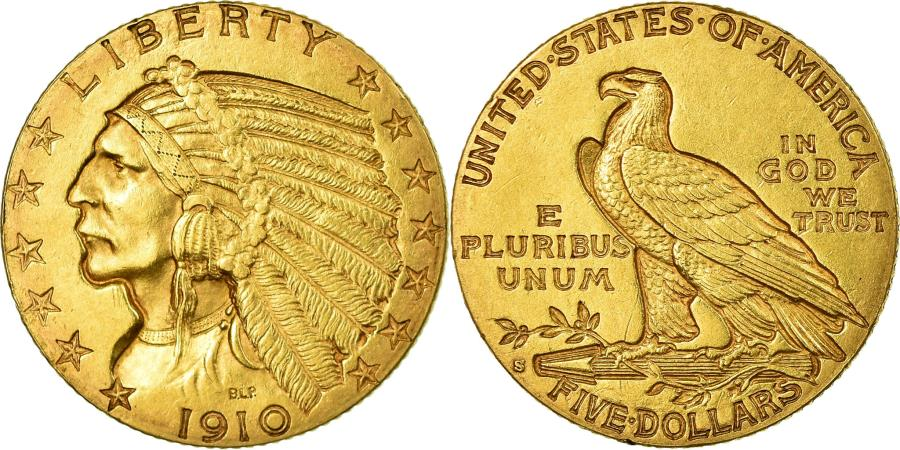 US Coins - Coin, United States, Indian Head, $5, Half Eagle, 1910, U.S. Mint, San