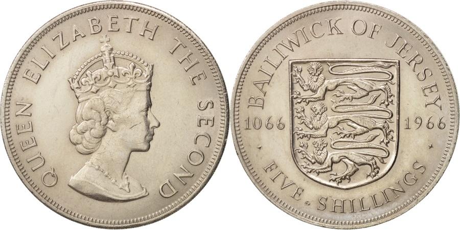 World Coins - Jersey, Elizabeth II, 5 Shilling, 1966, , Copper-nickel, KM:28