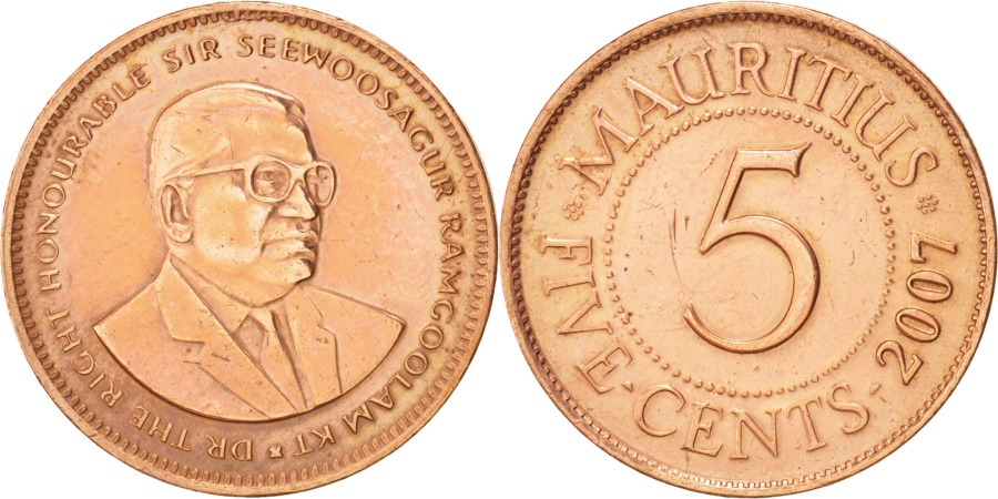 World Coins - Mauritius, 5 Cents, 2007, KM:52