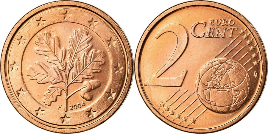 World Coins - GERMANY - FEDERAL REPUBLIC, 2 Euro Cent, 2004, , Copper Plated Steel