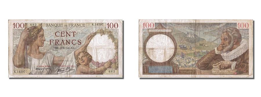 World Coins - France, 100 Francs, 100 F 1939-1942 ''Sully'', 1940, KM #94, EF(40-45), K14297,.