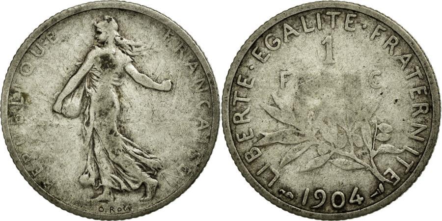 World Coins - Coin, France, Semeuse, Franc, 1904, VF(20-25), Silver, Gadoury:467