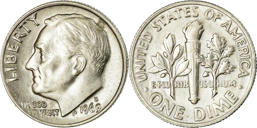 US Coins - Coin, United States, Roosevelt Dime, Dime, 1969, U.S. Mint, San Francisco