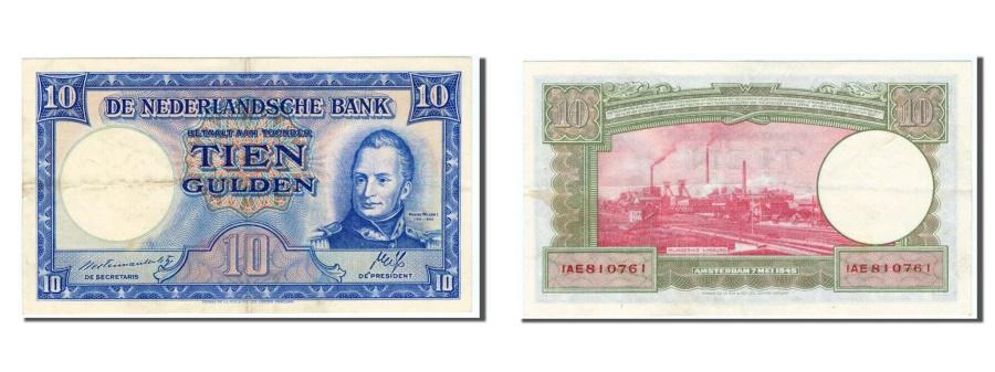 World Coins - Netherlands, 10 Gulden, 1945, KM #75a, AU(50-53), 1AE