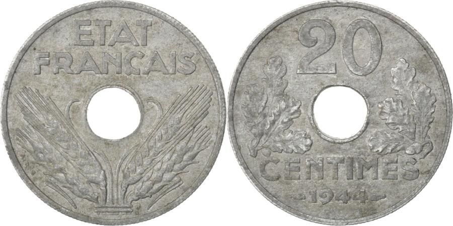 World Coins - FRANCE, État français, 20 Centimes, 1944, Paris, KM #900.2, , Zinc, Ga.