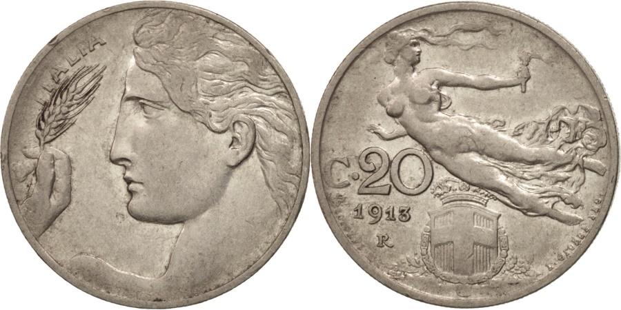 World Coins - Italy, Vittorio Emanuele III, 20 Centesimi, 1913, Rome, , Nickel, KM:44