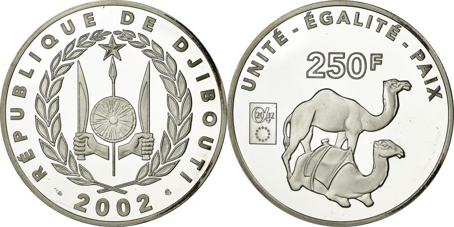 World Coins - Coin, Djibouti, 250 Francs, 2002, Paris, , Silver, KM:41