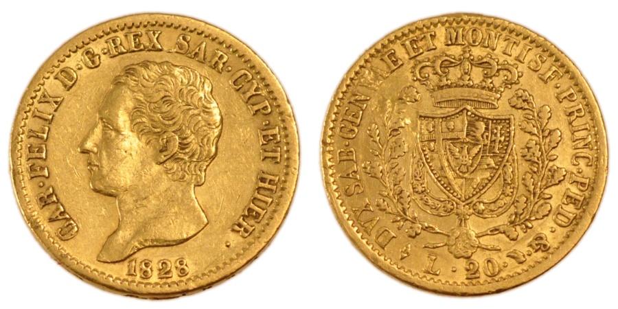 Italian states 20 lire 1828 torino km 118 1 au 55 58 for Coin torino
