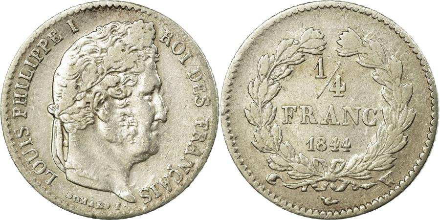 World Coins - Coin, France, Louis-Philippe, 1/4 Franc, 1844, Lille, VF(30-35), Silver