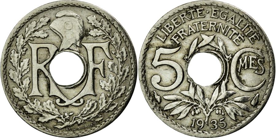 World Coins - Coin, France, Lindauer, 5 Centimes, 1935, AU(50-53), Copper-nickel, KM:875