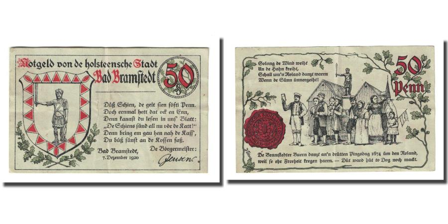 World Coins - Banknote, Germany, Bramstedt, 50 Pfennig, personnage, 1920, 1920-12-07, UNC(63)