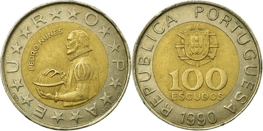 World Coins - Coin, Portugal, Pedro Nunes, 100 Escudos, 1990, , Bi-Metallic, KM:645.2
