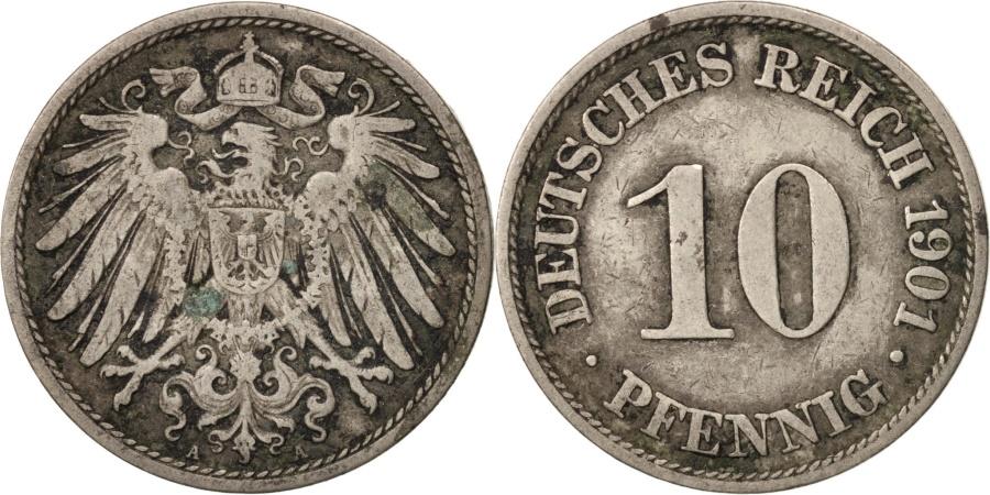 World Coins - GERMANY - EMPIRE, Wilhelm II, 10 Pfennig, 1901, Berlin,