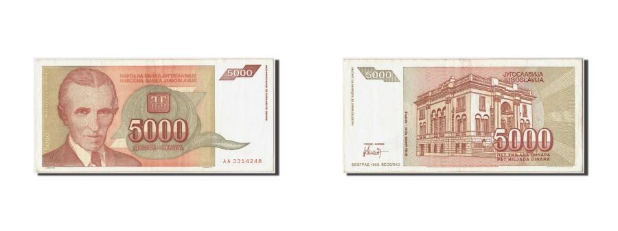 World Coins - Yugoslavia, 5000 Dinara, 1993, KM #128, AU(55-58), AA3314248