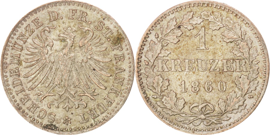 World Coins - GERMAN STATES, Kreuzer, 1860, KM #357, , Silver, 0.82