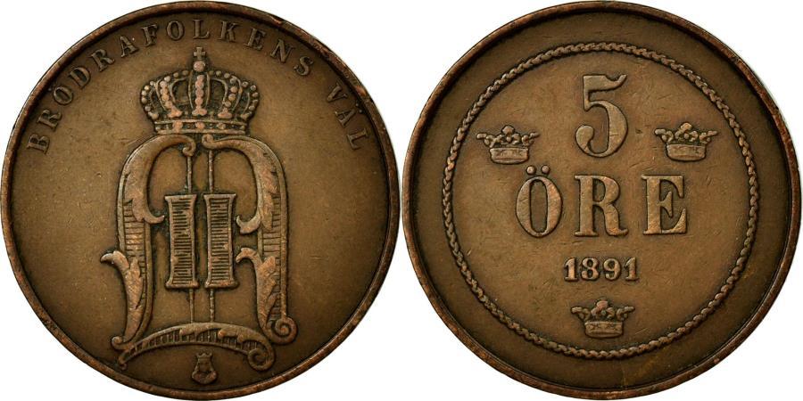 World Coins - Coin, Sweden, Oscar II, 5 Öre, 1891, EF(40-45), Bronze, KM:757