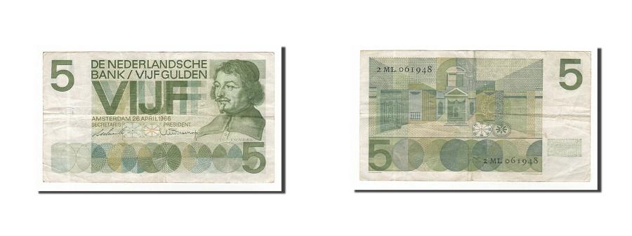 World Coins - Netherlands, 5 Gulden, 1966, KM #90a, 1966-04-26, VF(20-25), 2ML061948