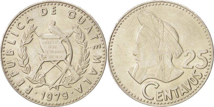 World Coins - GUATEMALA, 25 Centavos, 1979, KM #278.1, , Copper-Nickel, 27, 7.99