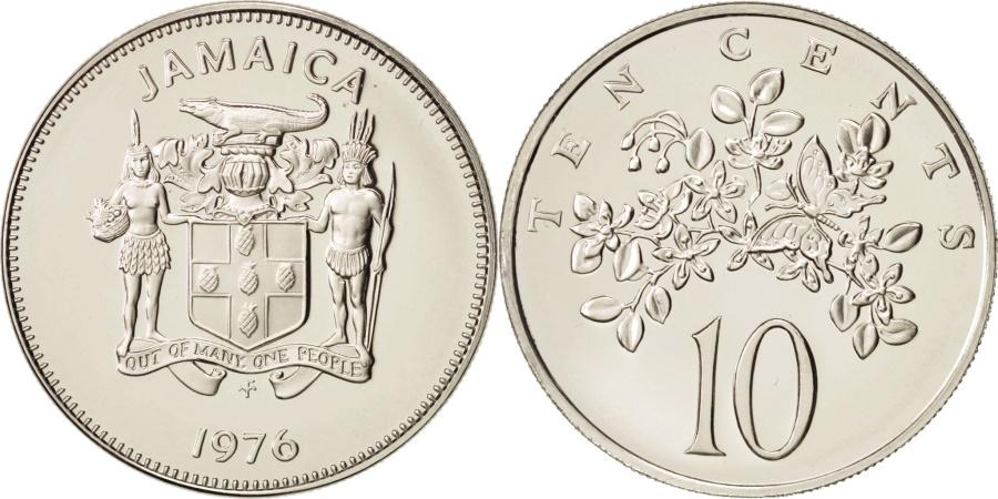 World Coins - Jamaica, Elizabeth II, 10 Cents, 1976, Franklin Mint, USA,
