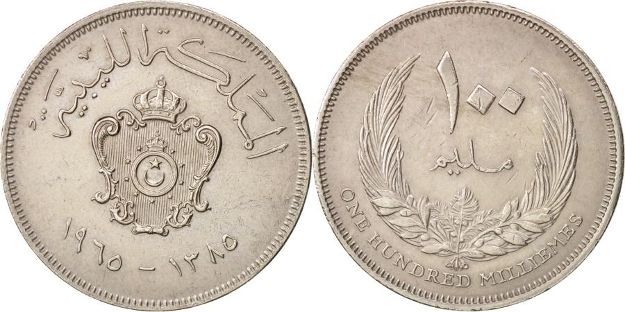 World Coins - Libya, Idris I, 100 Milliemes, 1965, , Copper-nickel, KM:11