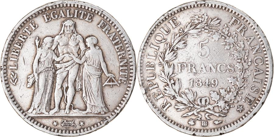 World Coins - Coin, France, Hercule, 5 Francs, 1849, Strasbourg, , Silver, KM:756.2