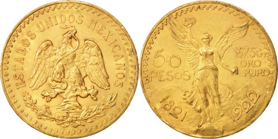 World Coins - Mexico, 50 Pesos, 1922, Mexico City, , Gold, KM:481