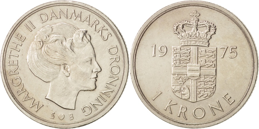 World Coins - Denmark, Margrethe II, Krone, 1975, Copenhagen, ,Copper-nickel,KM 862.1