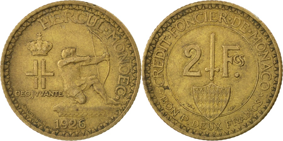 World Coins - MONACO, 2 Francs, 1926, Poissy, KM #115, , Aluminum-Bronze, Gadoury...