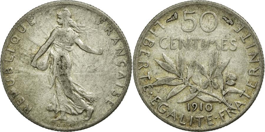 World Coins - Coin, France, Semeuse, 50 Centimes, 1910, EF(40-45), Silver, Gadoury:420