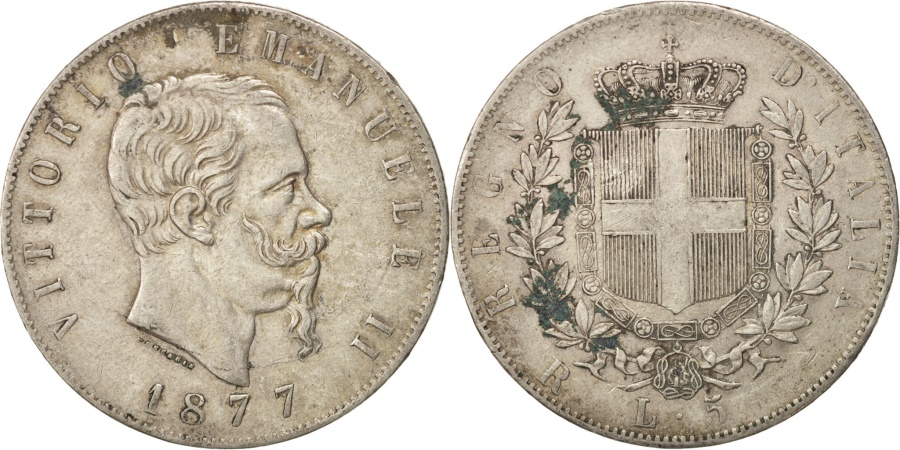 World Coins - Italy, Vittorio Emanuele II, 5 Lire, 1877, Rome, , Silver, KM:8.4