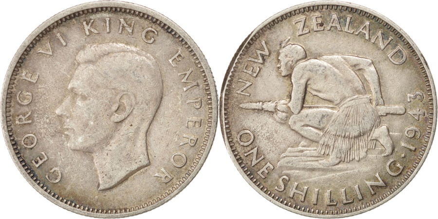 World Coins - NEW ZEALAND, Shilling, 1943, KM #9, , Silver, 23.62, 5.52