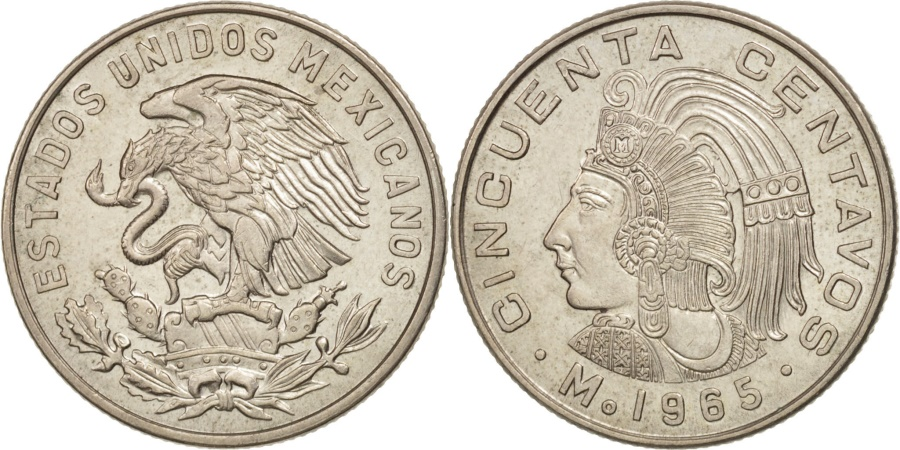 World Coins - Mexico, 50 Centavos, 1965, Mexico City, , Copper-nickel, KM:451