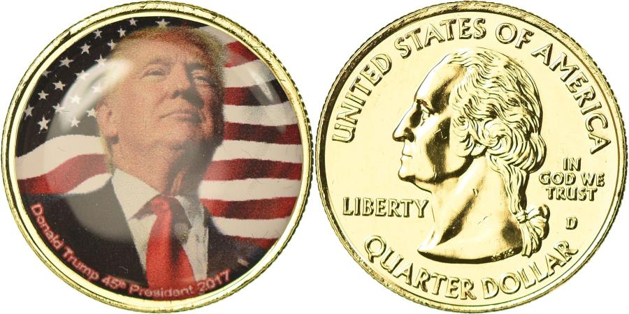 US Coins - United States of America, Medal, Quarter Dollar, Donald Trump, 2017,