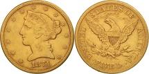 Us Coins - United States, Coronet Head, $5,1871, Carson City, EF(40-45), KM 101