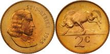 World Coins - South Africa, 2 Cents, 1965, MS(63), Bronze, KM:66.2