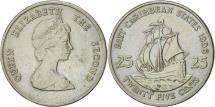 World Coins - East Caribbean States, Elizabeth II, 25 Cents, 1996, AU(50-53), Copper-nickel