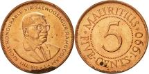 World Coins - Mauritius, 5 Cents, 1990, AU(50-53), Copper Plated Steel, KM:52