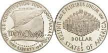 Us Coins - United States, Dollar, 1987, U.S. Mint, San Francisco, MS(63), Silver, KM:220