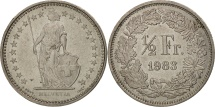 World Coins - Switzerland, 1/2 Franc, 1983, Bern, AU(55-58), Copper-nickel, KM:23a.3