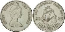 World Coins - East Caribbean States, Elizabeth II, 25 Cents, 1989, AU(50-53), Copper-nickel