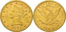 Us Coins - United States, Coronet Head, $10, 1892, Philadelphia, AU(55-58), Gold, KM:102