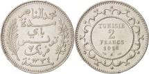 World Coins - Tunisia, Muhammad al-Nasir Bey, 2 Francs, 1916, Paris, AU(50-53), Silver, KM:239