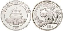 CHINA, PEOPLE'S REPUBLIC, 10 Yüan, 1997, small date, MS(65-70), Silver, KM:986