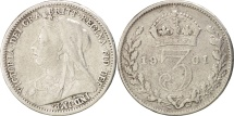 World Coins - Great Britain, Victoria, 3 Pence, 1901, EF(40-45), Silver, KM:777