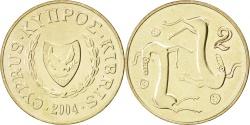 World Coins - CYPRUS, 2 Cents, 2004, KM #54.3, , Nickel-Brass, 19, 2.49