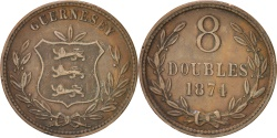 World Coins - GUERNSEY, 8 Doubles, 1874, Heaton, KM #7, , Bronze, 31.6, 8.94